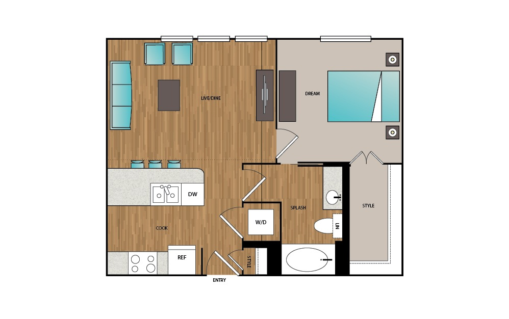 A1 - 1 bedroom floorplan layout with 1 bath and 647 square feet.