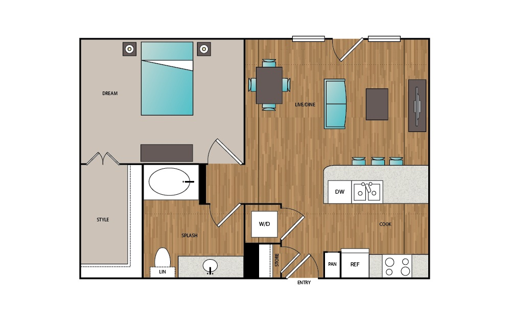A10 - 1 bedroom floorplan layout with 1 bath and 735 square feet.