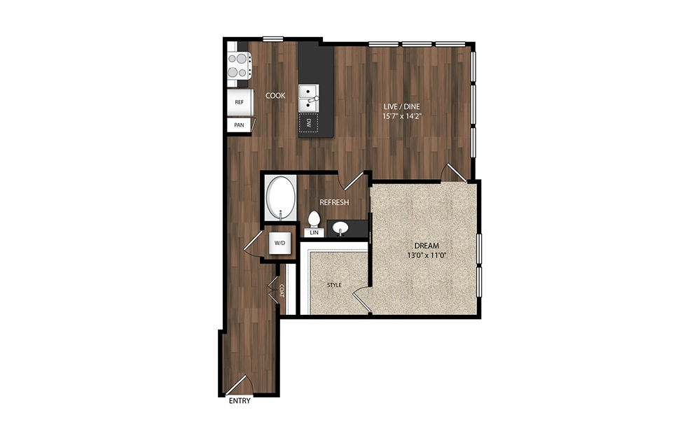 1 Bedroom A10.1 - 1 bedroom floorplan layout with 1 bath and 841 square feet.