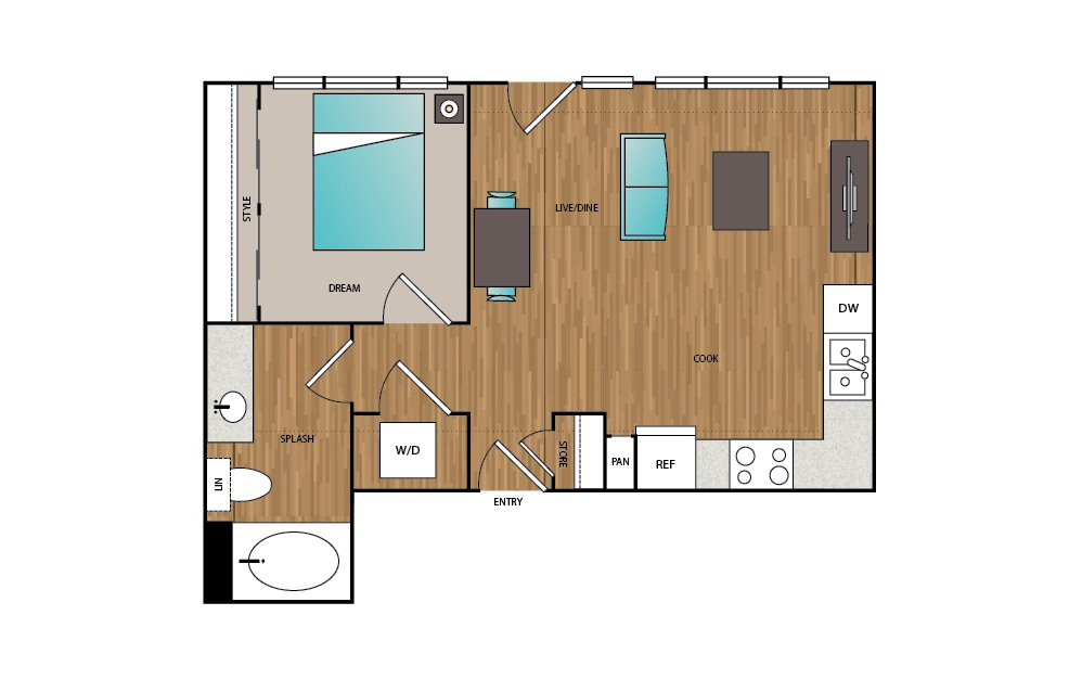 A11 - 1 bedroom floorplan layout with 1 bath and 563 square feet.