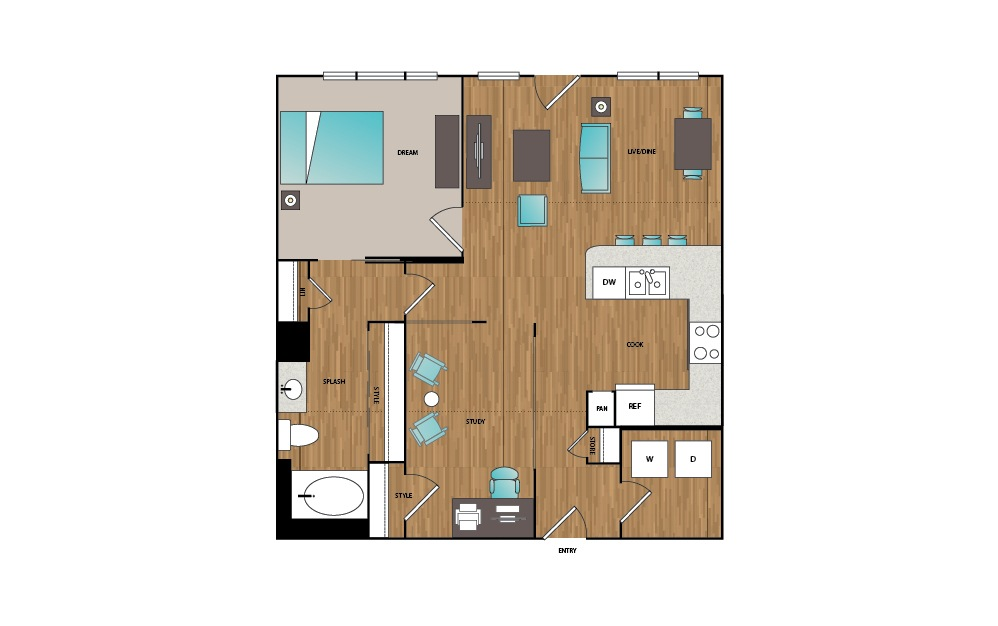 A12 - 1 bedroom floorplan layout with 1 bath and 923 square feet.