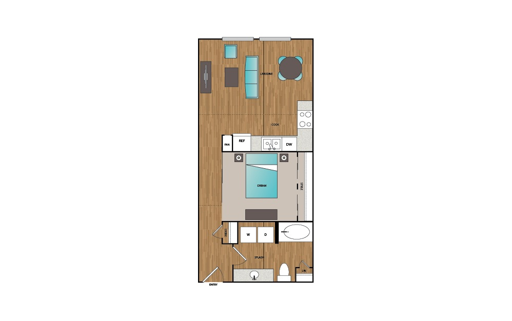 A2 - 1 bedroom floorplan layout with 1 bath and 671 square feet.