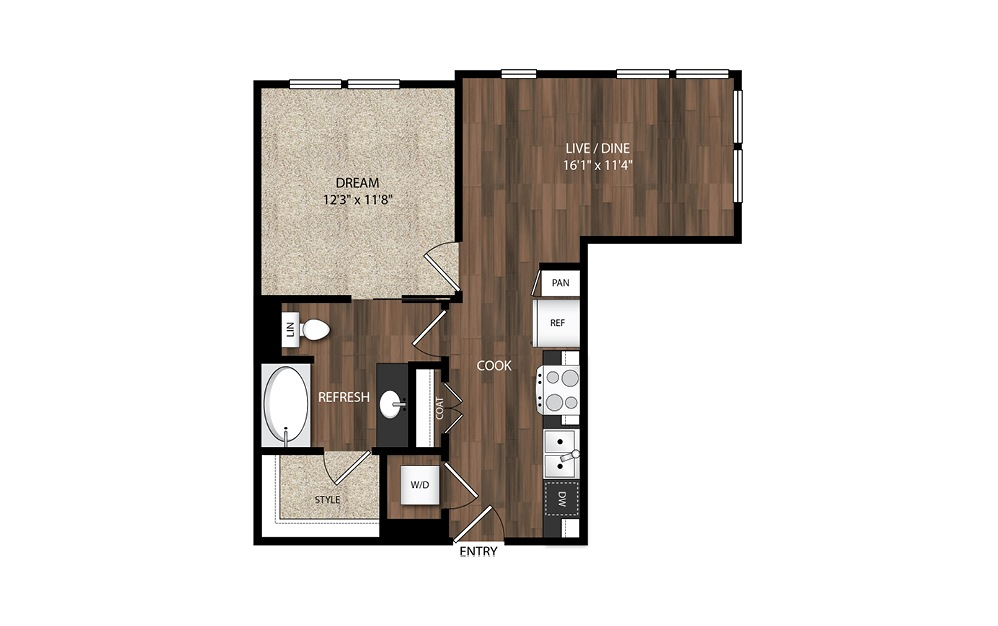 1 Bedroom A2.1 - 1 bedroom floorplan layout with 1 bath and 642 to 701 square feet.