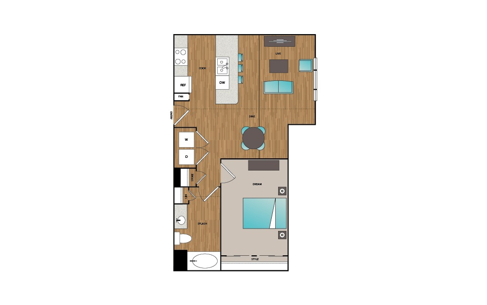 A3 - 1 bedroom floorplan layout with 1 bath and 747 square feet.