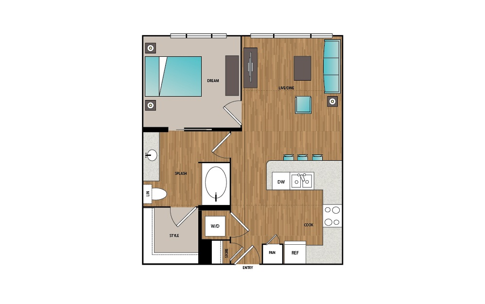 A4 - 1 bedroom floorplan layout with 1 bath and 686 to 780 square feet.