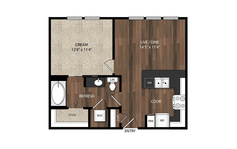 1 Bedroom A4.2 - 1 bedroom floorplan layout with 1 bath and 647 square feet.