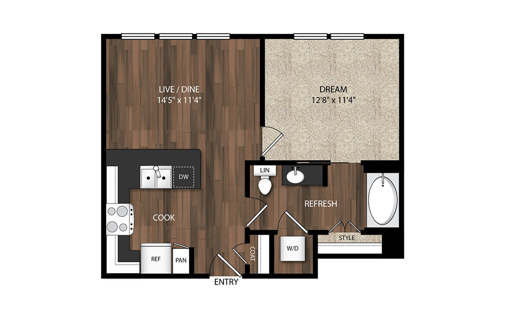 1 Bedroom A4.4 - 1 bedroom floorplan layout with 1 bath and 632 square feet.