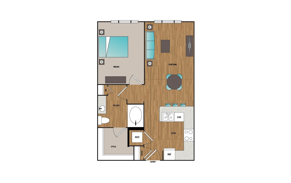 A5 - 1 bedroom floorplan layout with 1 bath and 728 to 748 square feet.