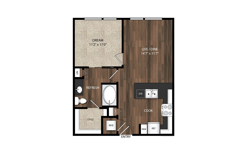 1 Bedroom A5.1 - 1 bedroom floorplan layout with 1 bath and 672 square feet.
