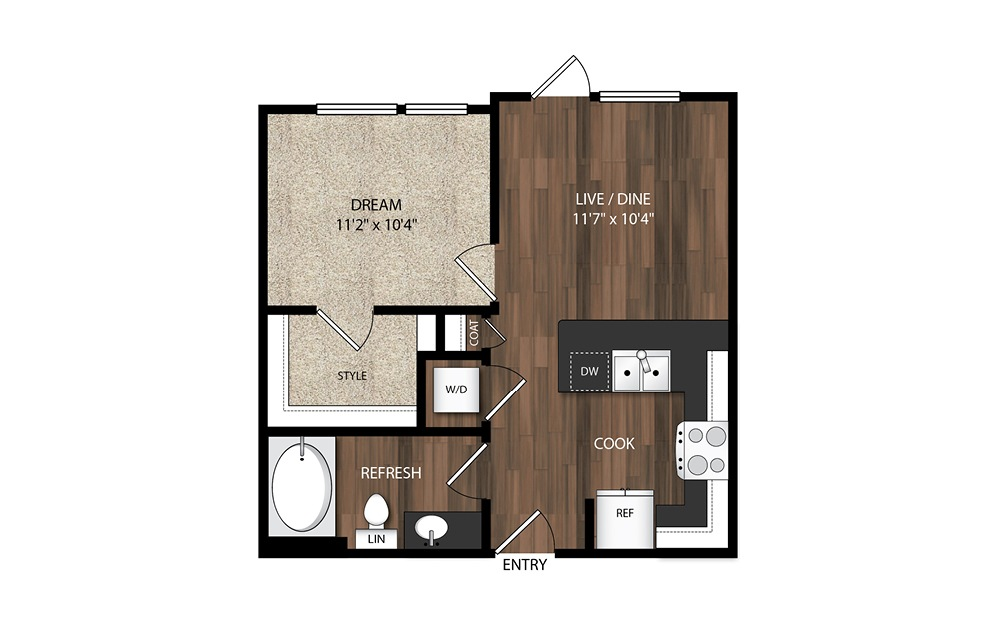1 Bedroom A5.2 - 1 bedroom floorplan layout with 1 bath and 557 square feet.