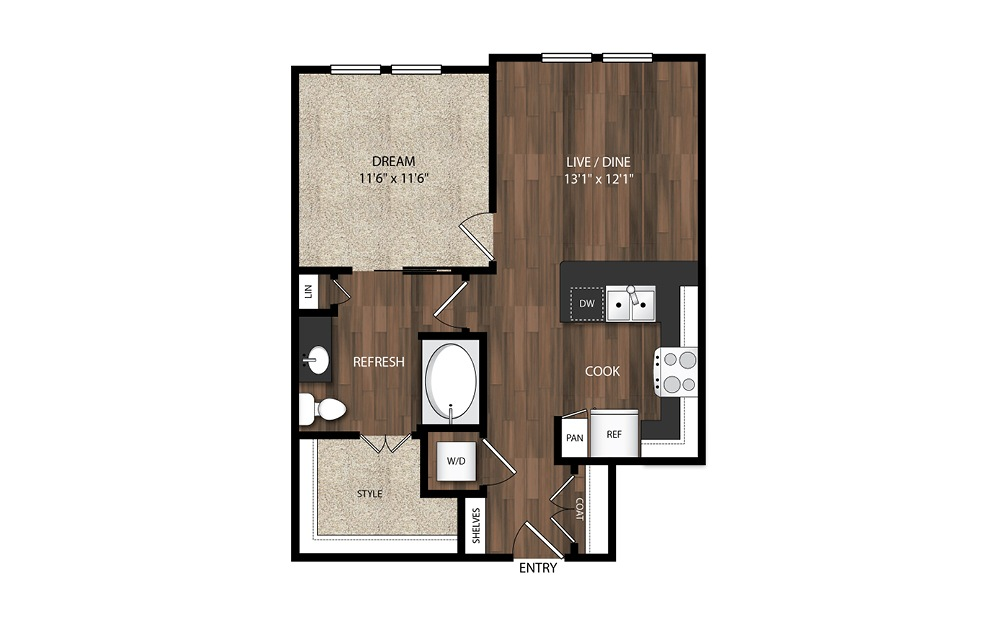 1 Bedroom A6.1 - 1 bedroom floorplan layout with 1 bath and 698 square feet.