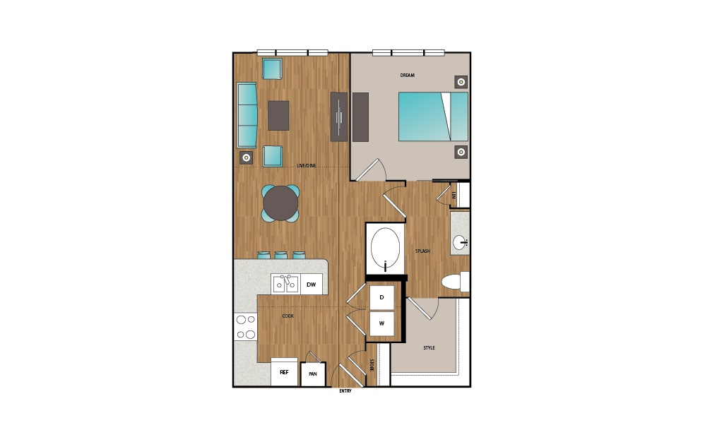 A7 - 1 bedroom floorplan layout with 1 bath and 746 square feet.