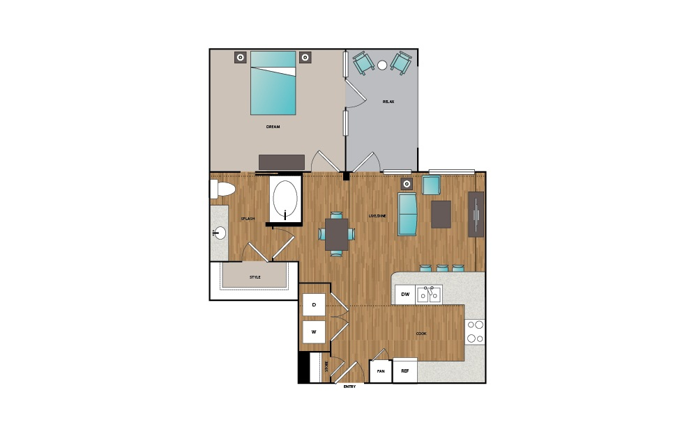 A8 - 1 bedroom floorplan layout with 1 bath and 794 square feet.