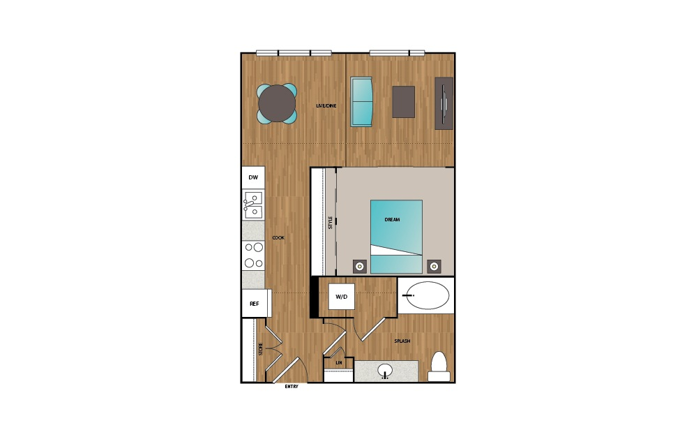 A9 - 1 bedroom floorplan layout with 1 bath and 655 to 701 square feet.