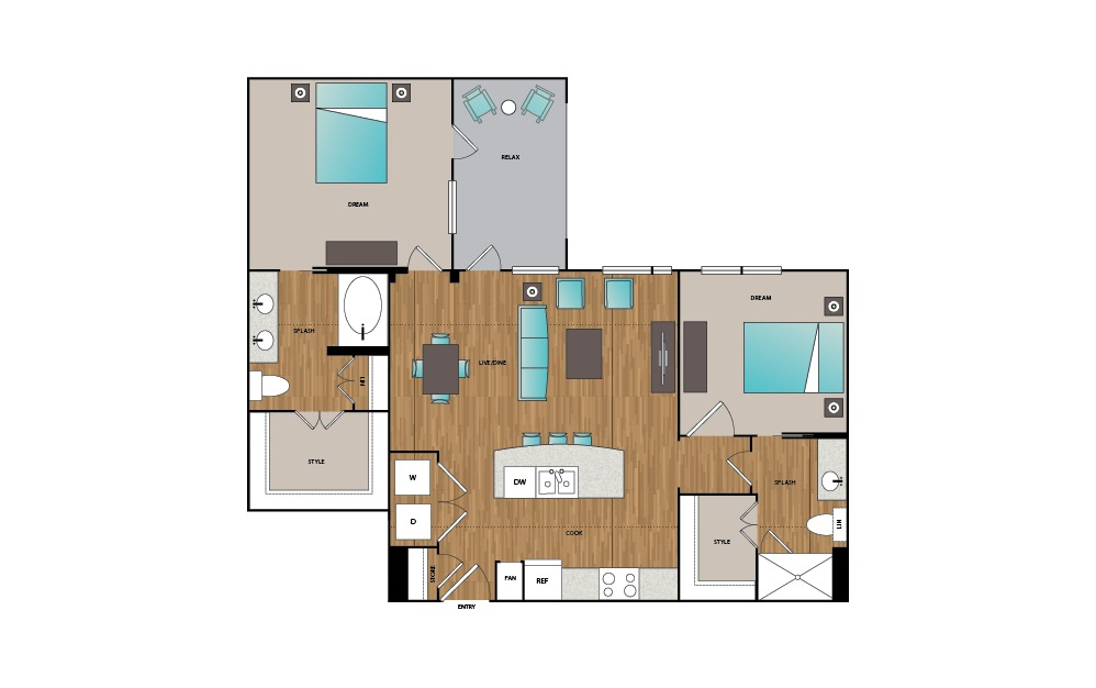 B1 - 2 bedroom floorplan layout with 2 baths and 1054 square feet.