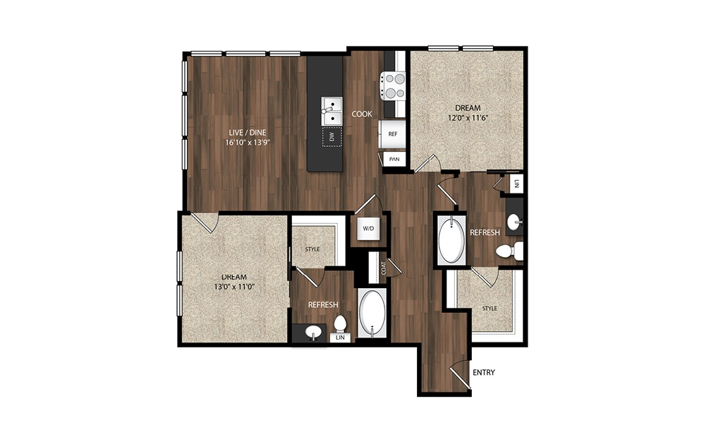2 Bedroom/2 Bath B2.1 - 2 bedroom floorplan layout with 2 baths and 1099 square feet.