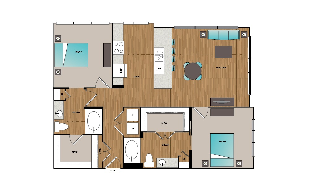 B3 - 2 bedroom floorplan layout with 2 baths and 1202 square feet.