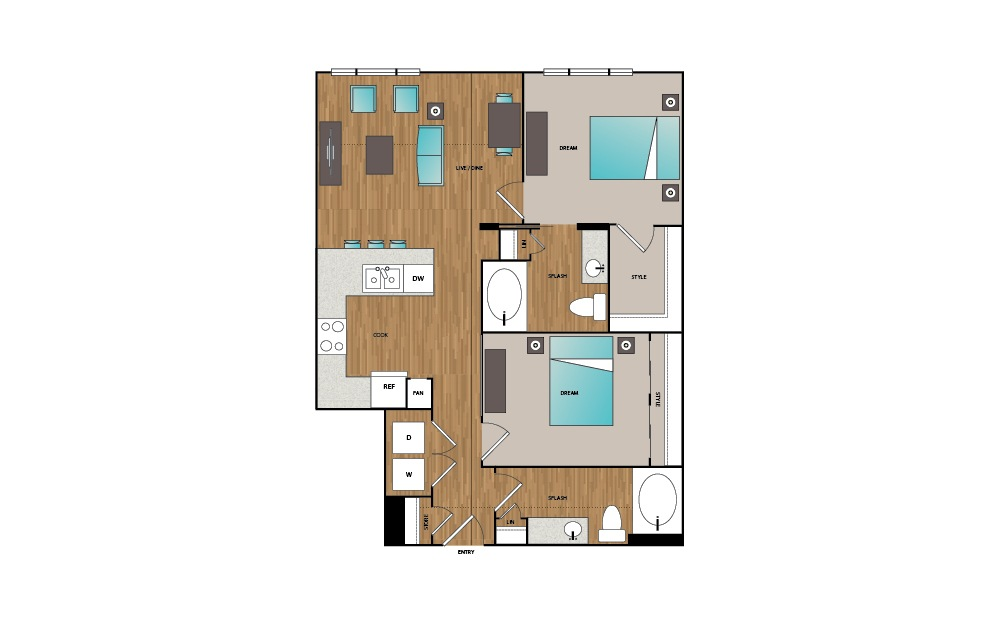 B4 - 2 bedroom floorplan layout with 2 baths and 976 square feet.