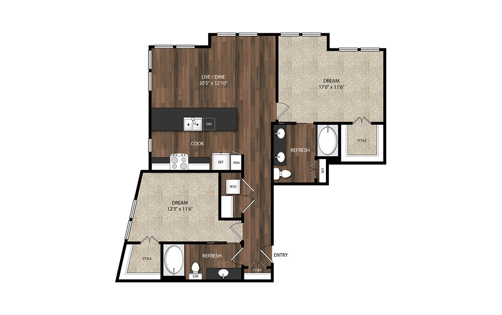 2 Bedroom/2 Bath B4.1 - 2 bedroom floorplan layout with 2 baths and 1249 square feet.