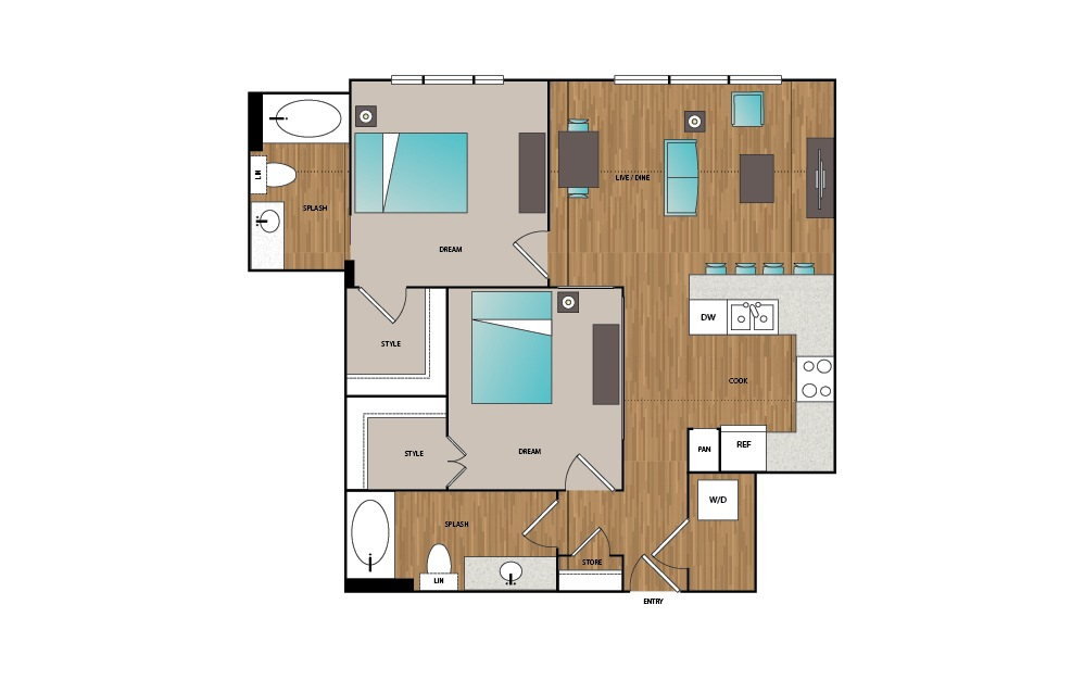 B5 - 2 bedroom floorplan layout with 2 baths and 966 square feet.