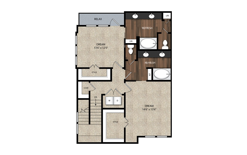 3 Bedroom Townhome B6.3 - 3 bedroom floorplan layout with 2.5 baths and 1842 square feet. (Floor 2)