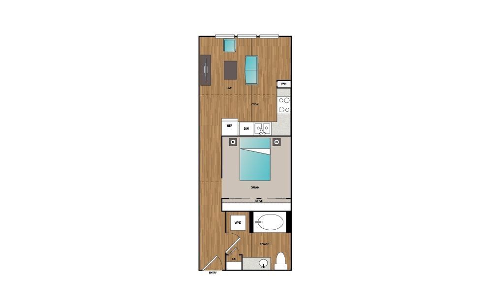 S2 - Studio floorplan layout with 1 bath and 547 to 558 square feet.