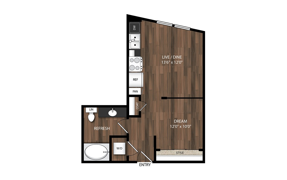 Urban 1 Bedroom S2.1 - Studio floorplan layout with 1 bath and 513 square feet.